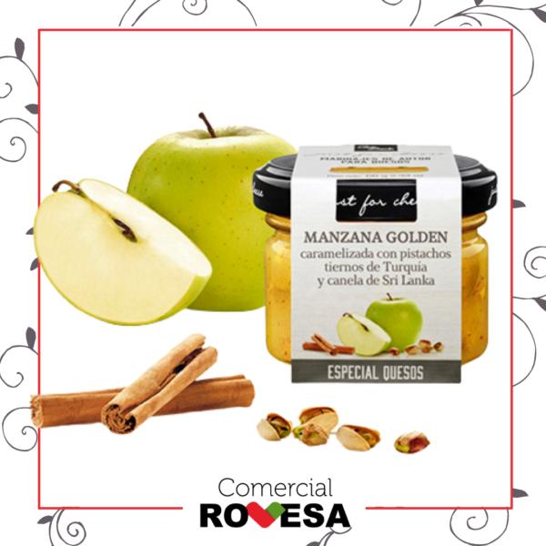 Just For Cheese.- Manzana Golden con pistachos tiernos de Turquía y canela de Sri Lanka