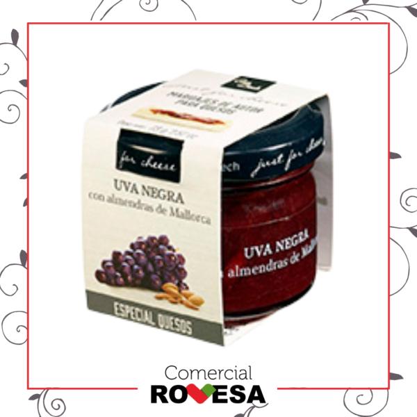 Just For Cheese.- Uvas negras con almendras laminadas de Mallorca para quesos de corteza lavada